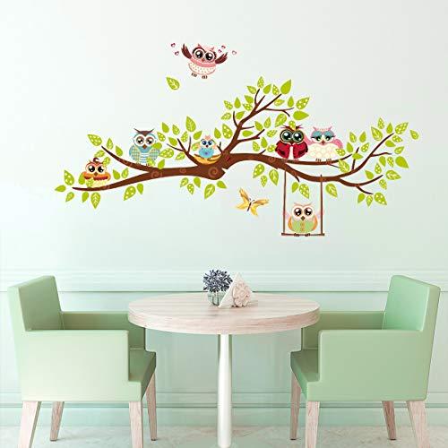 ufengke Wandtattoos Eulen Familie Baum Wandsticker Wandaufkleber DIY Schmetterlinge für Kinderzimmer Wohnzimmer