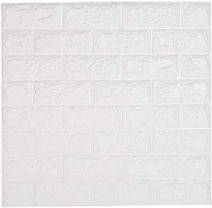 NHsunray 3D Ladrillo Pegatinas de Pared Autoadhesivo Panel Pared Impermeable, 3D DIY Wall Stickers Moderno Decoración para Cuarto de Baño, Sala de Estar y Cocina, 60x60cm (10 pcs)