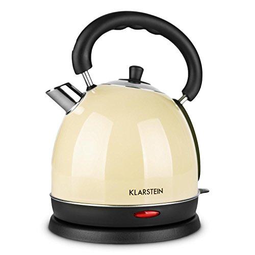 Klarstein Teatime hervidor de agua eléctrico (1,8 litros, 1850-2200 W potencia, estilo tetera retro, asa cool-touch, acero inoxidable, rápido calentamiento, filtro, sin cable) - crema