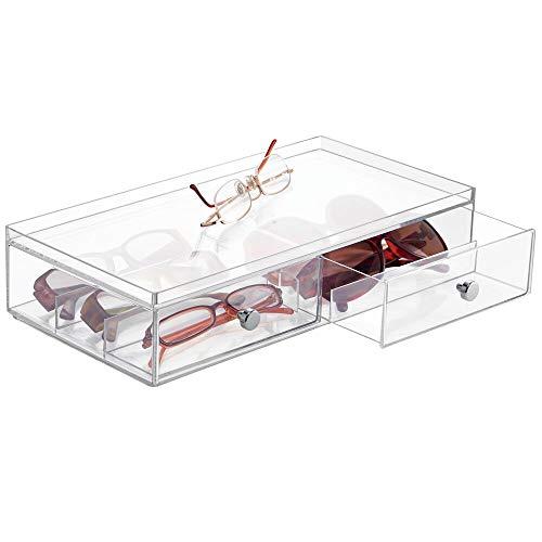 mDesign Aufbewahrungsbox für Brillen - Brillenablage für Brillenaufbewahrung in zwei Fächern - für Brillen, Sonnenbrillen und Lesebrillen - durchsichtig