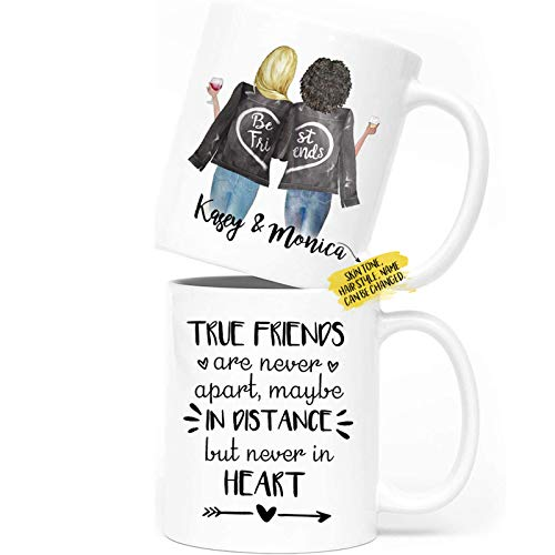 Personalized Best Friends Coffee Mugs for Women, Choose Names, Custom Friendship Mugs for Special Friends BFF, Galantine's Day Gifts, Long Distance Friendship 11oz