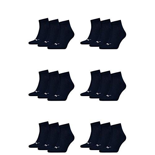 Puma 18 Paar Unisex Quarter Socken Sneaker Gr. 35-49 für Damen Herren Füßlinge, Farbe:321 - navy, Socken & Strümpfe:43-46