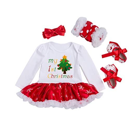 YuanDian Bebè Bambina 4pcs Natale Costume Completini Set Partito Vestiti Neonato Battesimo Babbo Natale Abbigliamento Natalizio Tutina Abiti + Fascia + Leggings Caldo + Scarpa 1# Albero 0-3 Mesi