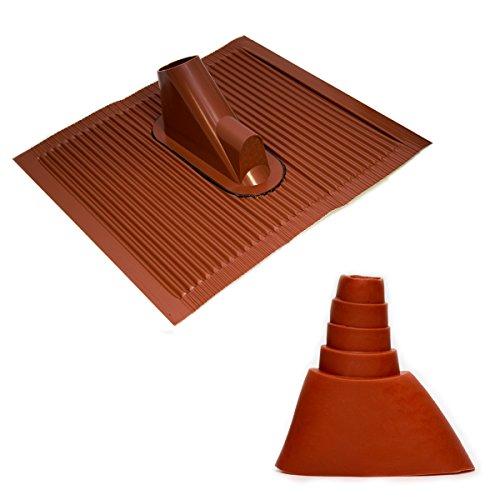 PremiumX Dachabdeckung mit Kabeleinführung Alu-Dachziegel Rot Dach Montage Abdeckung Ziegel Dachpfanne für Sat Dachsparrenhalter + Universal Gummimanschette Rot