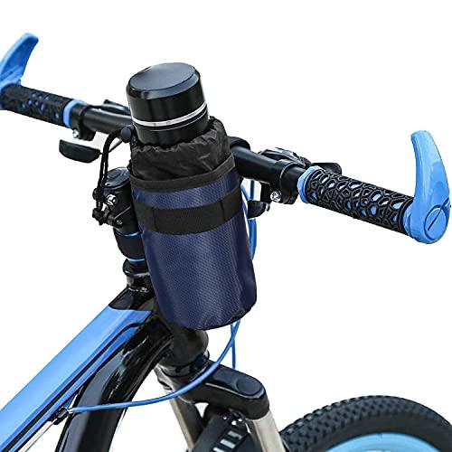 MisFox Bolsa isotérmica para manillar de bicicleta, para bicicleta de montaña, soporte para botellas, bolsa isotérmica, soporte para botellas, soporte para bebidas, sin tornillos, bolsa azul