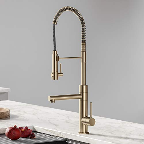 Kraus KPF-1603SFACB Artec Pro 2-Function Commercial Style Pre-Rinse Kitchen Faucet with Pot Filler, Spot Free Antique Champagne Bronze