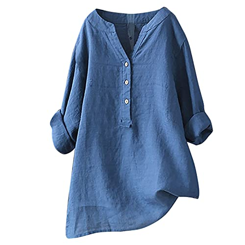 Summer Women Cotton Linen Tshirt Tops Casual 3/4 Roll Sleeve V Neck Tunic Tees Trendy Solid Flowy Button Blouses