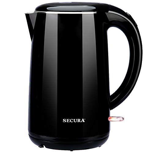 Secura SWK-1701DBO Stainless Steel Double Wall Electric Tea Kettle w/Auto Shut-Off & Boil Dry Protection Water Boiler, Black Onyx, 1.8Qt