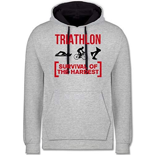 Sonstige Sportarten - Triathlon - Survival of The Hardest - L - Grau meliert/Navy Blau - Triathlon Pullover - JH003 - Hoodie zweifarbig und Kapuzenpullover für Herren und Damen