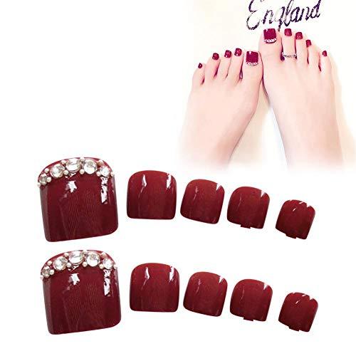 24pcs Uñas postizas, Uñas de los pies Falsa Artificial, Cortas, con Pegamento, para Decoración del Arte del Uñas(rojo)