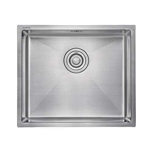 Moderno lavello da cucina in acciaio inox per mobile base 50 cm, lavello quadrato 50 cm x 43 cm per
