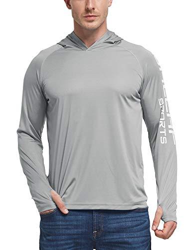 BALEAF Men's Hoodie UPF 50+ Sun Protection Long Sleeve Running Logo T-Shirt Gray L