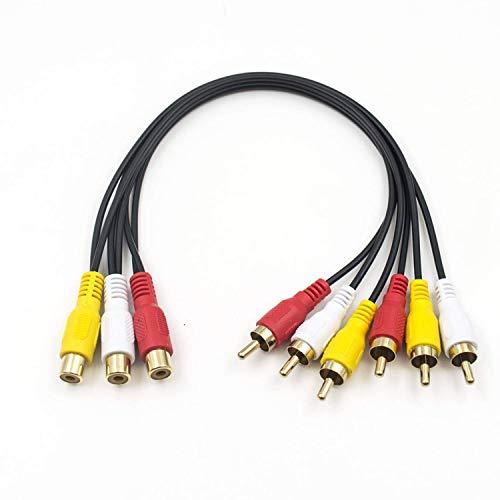 Duttek Cinch Splitter Kabel, 3 Cinch Stecker auf 6 Cinch Buchsen, Cinch Y Splitter, Verlängerungskabel, Audio-/Video-AV-Adapterkabel, 30 cm (3 RCA F auf 6 RCA M)
