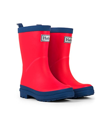 Hatley Kids' Big Classic Rain Boots, Red & Navy, 3 US Youth