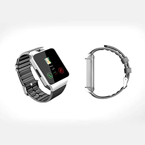 KawKaw DZ09 Smartwatch mit Kamera - Verfügt über viele Funktionen wie Schlaf-Monitor, Videofunktion, Taschenrechner, Kalender sowie MP3- und MP4-Play-Funktion u.v.m. (Silber mit schwarzem Armband)