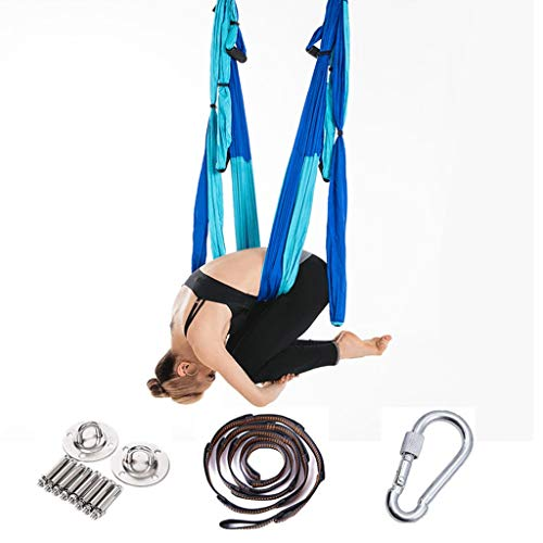 MZP Aerial Yoga Swing Hammock Strong & Durable Antigravity Inversion Kit with Trapeze Sling Ideal for Home & Gym Fitness (Color : Double Fight Blue, Size : 250x145cm)