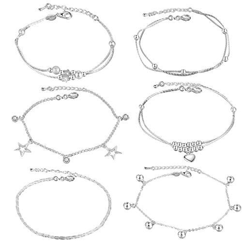 Gkmamrg set van 4 stuks zilver vergulde enkelbandjes, bolletjes, hart, enkelbandje, armband, bolketting, armband, zomer, strand voetsieraad voor vrouwen en meisjes (6PCS-SET2)