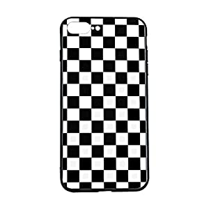 Vanqiang - Carcasa para iPhone XR (borde suave, cuadrícula, tartán, damier casa), diseño de cuadros de damier de tablero de ajedrez (iPhone XR, negro y blanco)