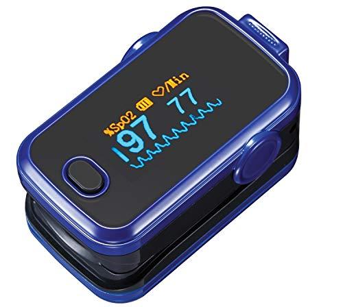 Pulsioxímetro oxímetro SPO2 & monitor de ritmo cardíaco blanco - pilas, funda de protección de silicona/almacenamiento/tran
