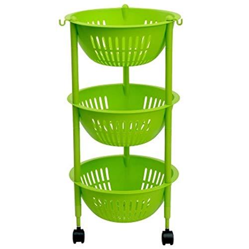 Keuken Opbergwagen 3-Tier Plastic GroentenFruit Rekken Multi-Purpose Rolling Cart, met haken manden Wielen Rack Houders (Color : Green, Size : 3 Tier)