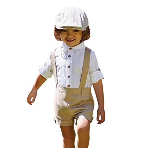 Hui.Hui Chemise à Manches Courtes + Short à Bretelles Little Gentleman pour Garçons Outfits Enfant Garçon Tenue