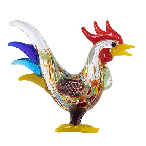 GHFT Coleccionables Decorativos Escultura Animal Pollo de Cristal Escultura Arte Hecho a Mano Arte Gallo de Cristal Figura decoración del hogar Regalo