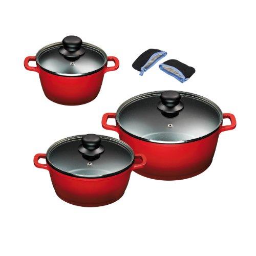 King Aluguss Kochtopfset aus 3 Kochtöpfen mit Deckeln und 2 Henkelpads, Fusion beschichtet, rot, Ø ca. 16, 20, 24 cm