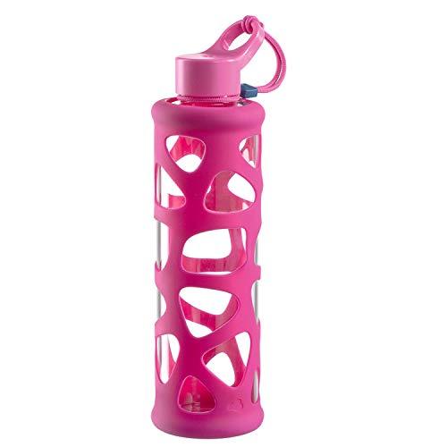 Leonardo In Giro Glas Trinkflasche, spülmaschinenfeste Sportflasche, stoßfeste Wasserflasche, To Go für Kalt u. Heißgetränke, pink 700 ml, 028913