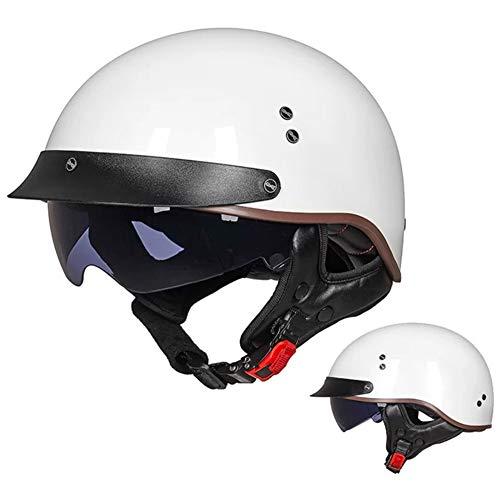 Cascos de Moto con Visera Reflectante para Hombres y Mujeres casco de motocicleta Aprobado por ECE, Ciclomotor Cascos el Cabezal Anticolisión Protege la Seguridad Vial de Los Usuarios,C,L=(59~60CM)