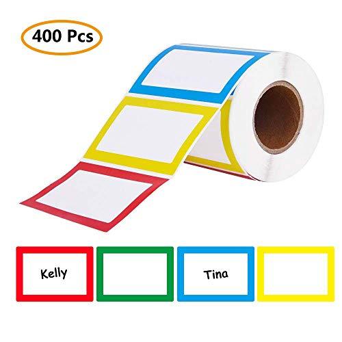 Name Tag Labels, 400 Pcs Colorful Plain Name Label Stickers, Size of 8.5x5.5cm/3.3' x 2.3', 4 Colors