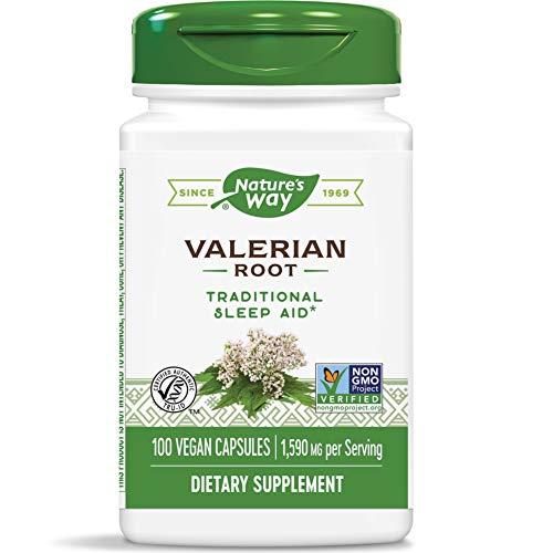 Nature's Way Valerian; 1,590 mg Valerian Root per Serving; Non-GMO Project Verified; TRU-ID Certified; Gluten Free; Vegan; 100 Vegan Capsules (Packaging May Vary)