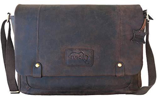 TUSC Charon bruine leren tas Vintage laptoptas 17 inch heren schoudertas aktetas schoudertas voor kantoor notebook messenger bag laptop iPad, 41x31x12cm