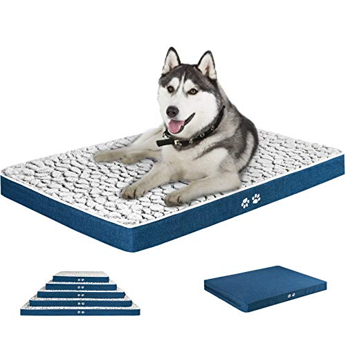 """KROSER 24""""/30""""/36""""/42""""/48"""" Reversible Dog Bed (Cool&Warm) Stylish Pet Mattress Bed with Waterproof Linings, Removable Machine Washable Cover, Firm Support Pet Mat for Dog 25-110lbs"""