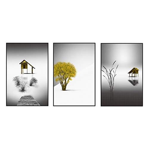 Arte de pared para sala de estar Cuadro en lienzo arte de la pared pintura decoración del hogar paisaje blanco y negro borde negro 3 piezas conjunto mural Carteles de decoración de pared baño para hog