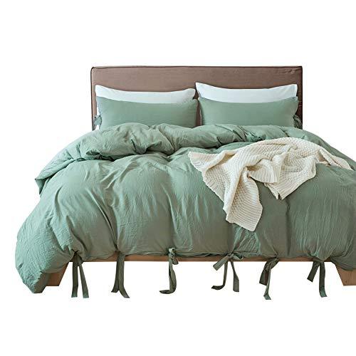 HOTNIU 3-Teiliger Weicher Bettbezug - Komfortable Atmungsaktive Luxuriöse Bettwäsche-Sets mit Krawatten Design - Alle Jahreszeiten Leichtgewichtig Trösterdecke mit 2 Stück Kissenbezug (Grün, Double)