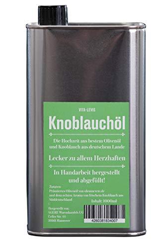 OHNE Konservierungsstoffe! Knoblauchöl 100% sortenreines Olivenöl aus der Koroneiki-Olive + Knoblauch aus deutschem Lande. 1000ml Weissblechdose.