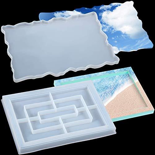 Molde de resina de silicona con bordes, bandeja rectangular grande para fundición epoxi, soporte para joyas, bandeja de ágata, tabla de servir, molde de placa