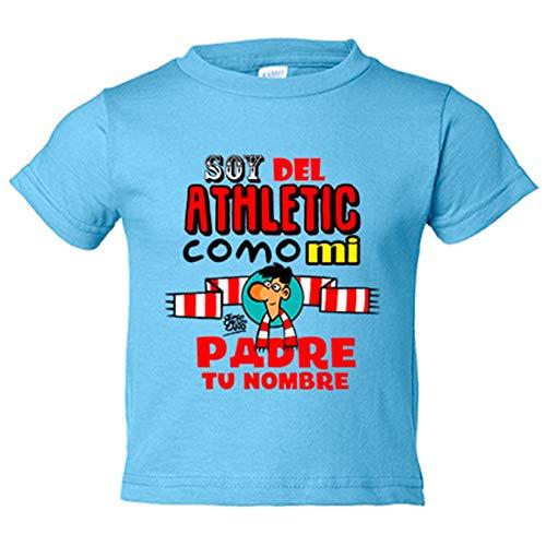 Camiseta niño soy del Athletic de Bilbao como mi padre personalizable con nombre - Celeste, 12-18 meses