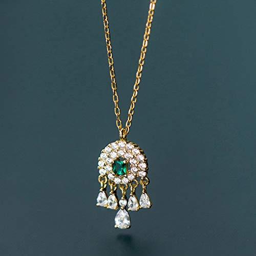 zlw-shop Collar de Mujer Collar de Cadena de Diamante Verde Fresca Diamante Ideal del colector de Elementos de clavícula 925 Collar de Plata Femenina Gota Collares Pendientes (Color : Silver)