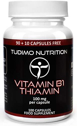 Vitamine B1 100 mg Thiamine Capsules - 100 st. (3+ Maanden Voorraad) van Snelle Desintegrerende Capsules elk met 100mg Premium Kwaliteit Thiamine Mononitraat Poeder