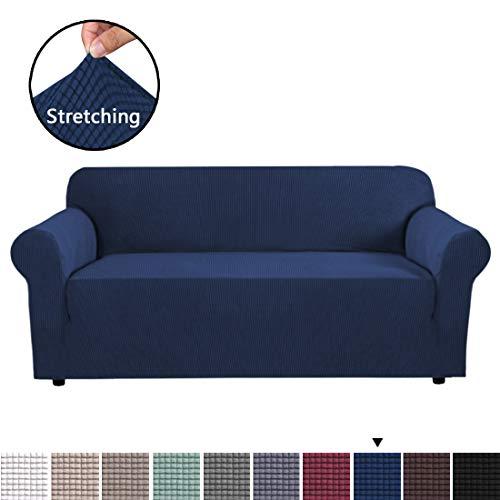 BellaHills Sofabezüge 3-Sitzer Schonbezug Formschlüssige, Rutschfeste, stilvolle Möbelschutzfolie mit leichtem Twill-Stoff für Sofa, Marine