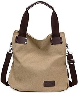 Fashion Handbags Canvas Handbags New Simple Big Bag Portable Messenger Bag Tide Leisure Art College Wind Shoulder Bag (Color : Khaki)