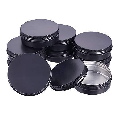 BENECREAT 12PCS 100ml Alu-Dosen, runde Alu-Dosen Kosmetikbehälter mit Schraubdeckel für DIY Crafts Travel Storage-Schwarz