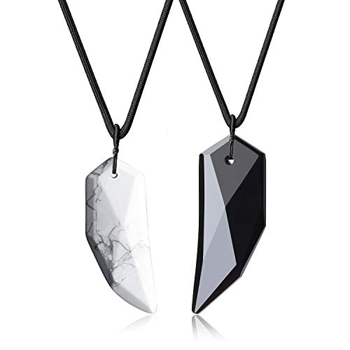 COAI Obsidian Howlite Wolf Tooth Yin Yang Couples Pendant Necklaces