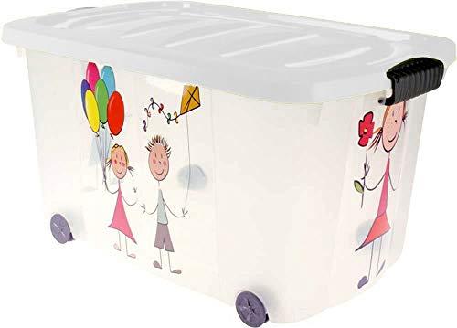 Eliware Spielzeugkiste (Multibox) mit Rollen | Kinder-Muster und weißem Deckel