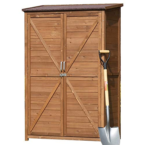 YAzNdom Outdoor Storage Box 2-Door Sun and Waterproof Tilt Roof for Balcony Garden Patio Outdoor Wooden Tool Shed Storage Cabinet Can Be Used As A Gardening Tool (Color : Coffee, Size : 100x60x160cm)