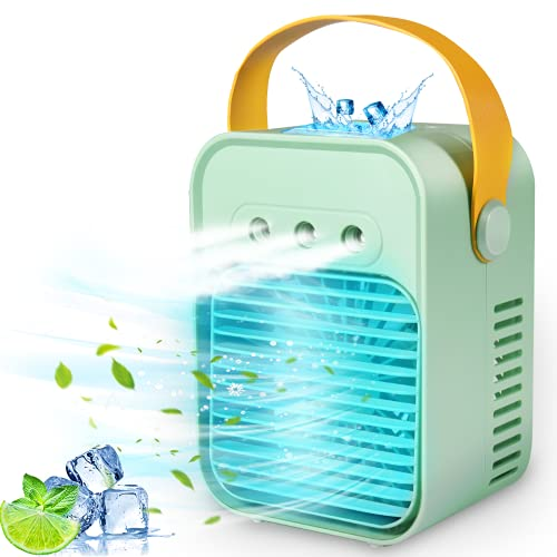Portable Air Conditioner, Mini Fan Air Cooler Fan with 3 Wind Speeds and with 3 Spray Modes, Personal Space Humidifier with Handle Suitable for Bedroom/Office/Dorm/Camping