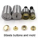 50 Sets/lot Metal Snap Fastener Botones de metal Cierre de remache 12.5mm 50 botones y moldes