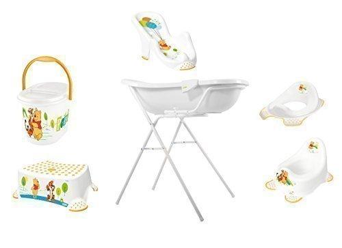8 Pièces Set Disney Winnie Pooh Blanc Baignoire XXL 100 cm + Support Baignoire Bébé + Siège + Pot + Toilette+ Tabouret+ Sceau à Couches + Gant