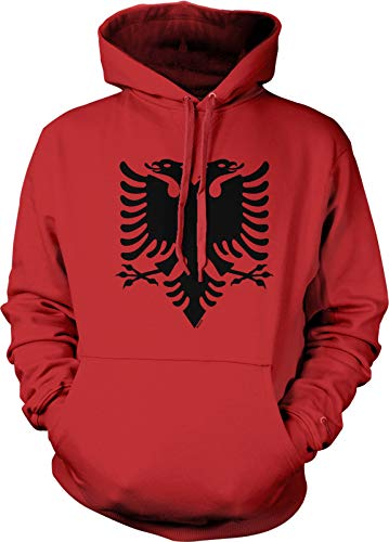 NOFO Clothing Co Albania Double Headed Eagle Hooded Sweatshirt, XL Red